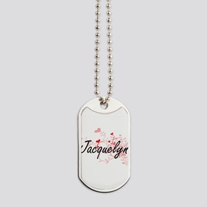 Jacquelyn Artistic Name Design with Heart Dog Tags