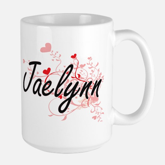 Jaelynn Artistic Name Design with Hearts Mugs