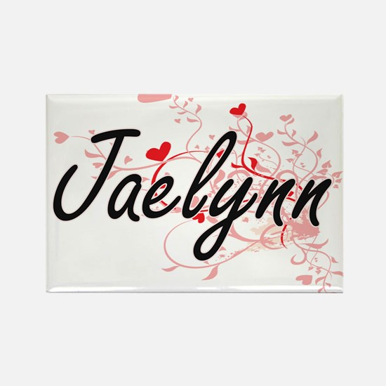 Jaelynn Artistic Name Design with Hearts Magnets