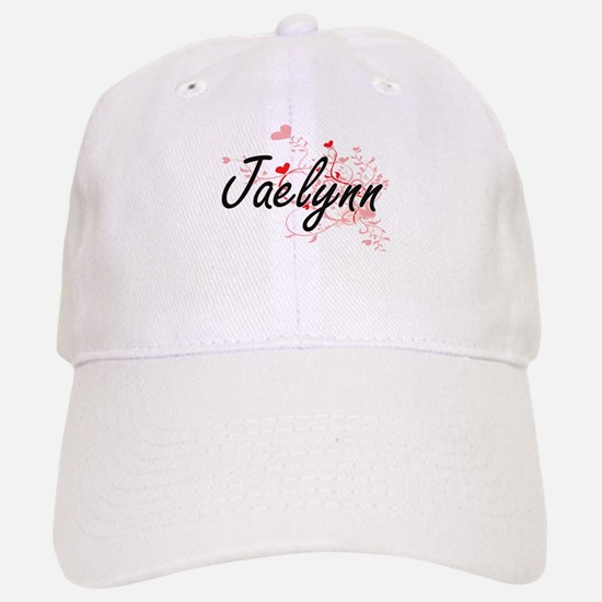 Jaelynn Artistic Name Design with Hearts Baseball Baseball Cap