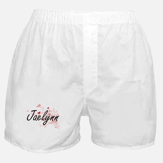 Jaelynn Artistic Name Design with Hea Boxer Shorts