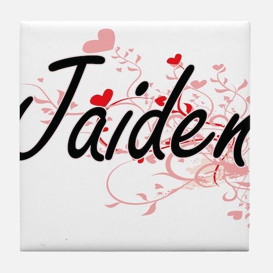 Jaiden Artistic Name Design with Hear Tile Coaster