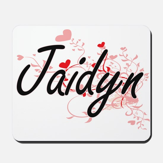 Jaidyn Artistic Name Design with Hearts Mousepad