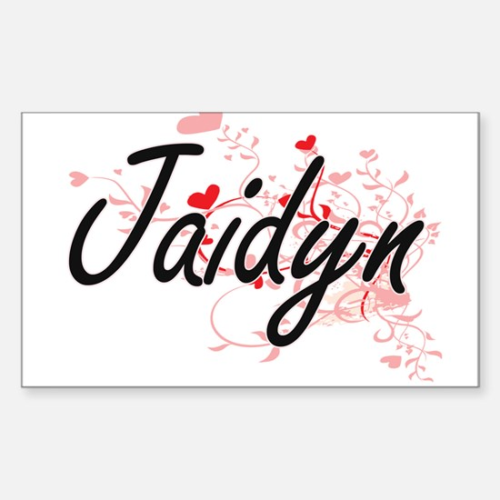 Jaidyn Artistic Name Design with Hearts Decal