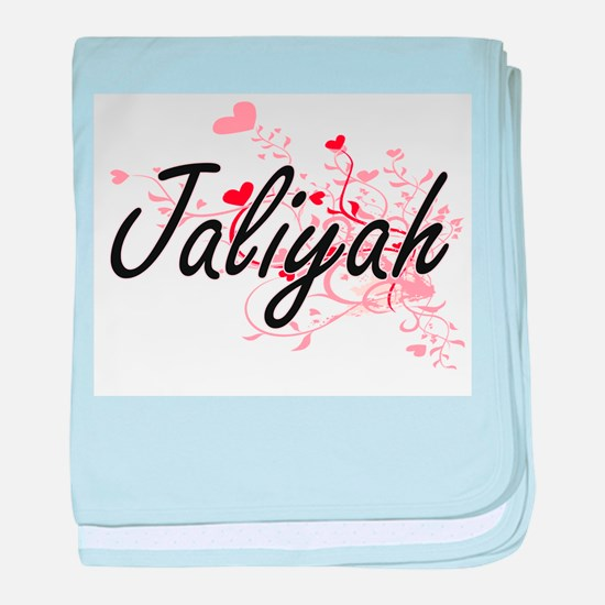 Jaliyah Artistic Name Design with Hea baby blanket