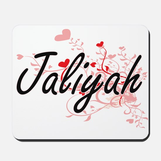 Jaliyah Artistic Name Design with Hearts Mousepad