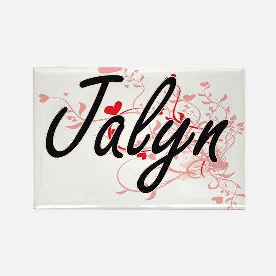 Jalyn Artistic Name Design with Hearts Magnets