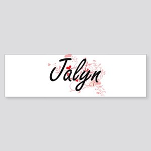 Jalyn Artistic Name Design with Hea Bumper Sticker