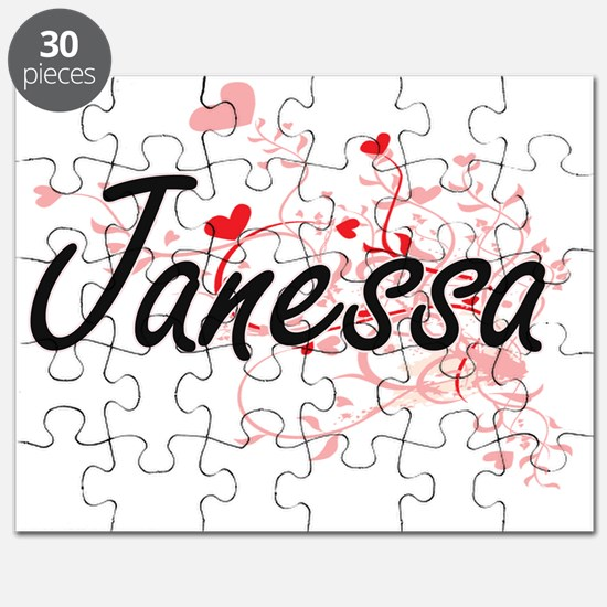 Janessa Artistic Name Design with Hearts Puzzle