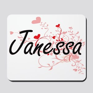 Janessa Artistic Name Design with Hearts Mousepad