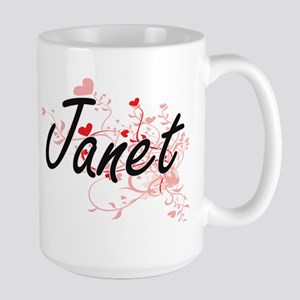 Janet Artistic Name Design with Hearts Mugs