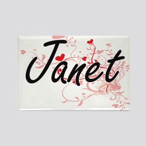 Janet Artistic Name Design with Hearts Magnets