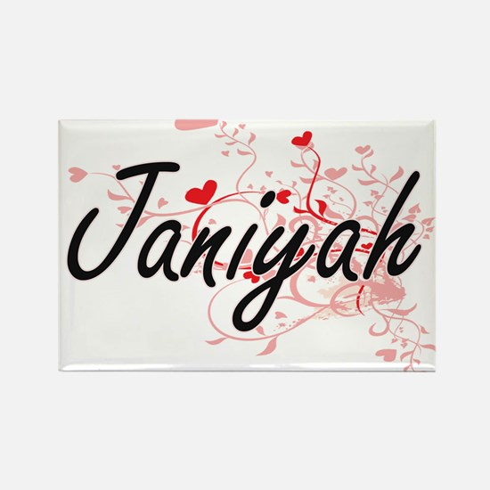 Janiyah Artistic Name Design with Hearts Magnets