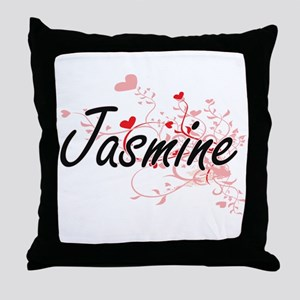 Jasmine Artistic Name Design with Hea Throw Pillow