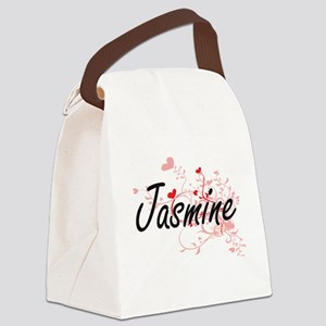 Jasmine Artistic Name Design with Canvas Lunch Bag