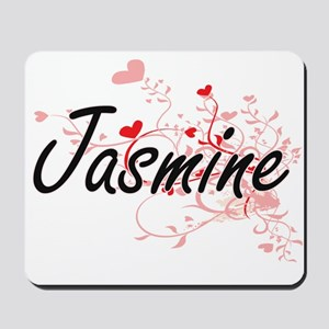 Jasmine Artistic Name Design with Hearts Mousepad