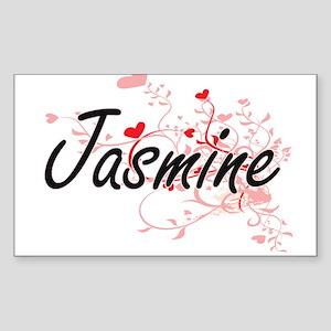 Jasmine Artistic Name Design with Hearts Sticker