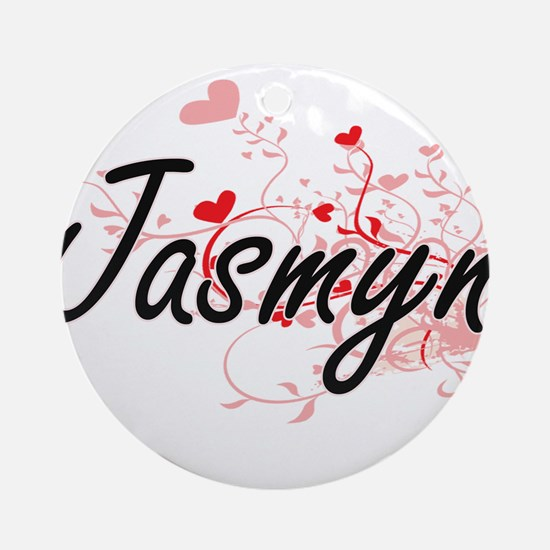 Jasmyn Artistic Name Design with Ornament (Round)
