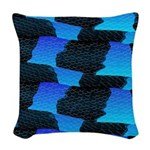 Blue Ocean Sea Snake pattern sq3 Woven Throw Pillo