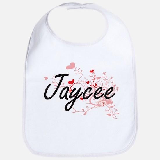 Jaycee Artistic Name Design with Hearts Bib