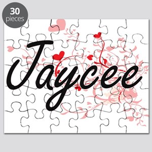 Jaycee Artistic Name Design with Hearts Puzzle