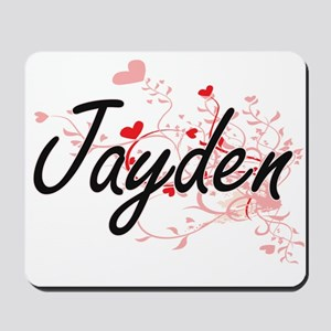 Jayden Artistic Name Design with Hearts Mousepad