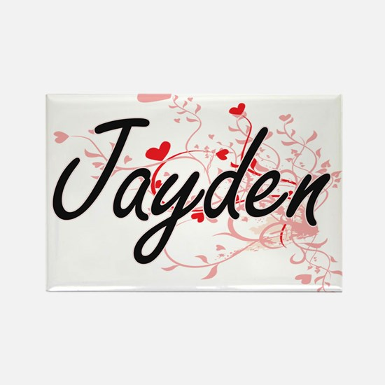Jayden Artistic Name Design with Hearts Magnets