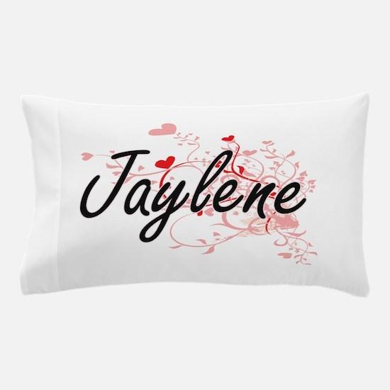 Jaylene Artistic Name Design with Hear Pillow Case