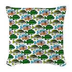 School of Sunfish fish Woven Throw Pillow