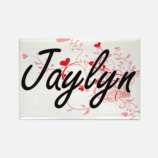Jaylyn Artistic Name Design with Hearts Magnets
