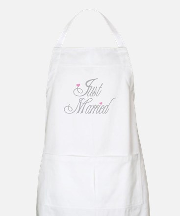 Classy Grays Just Married BBQ Apron