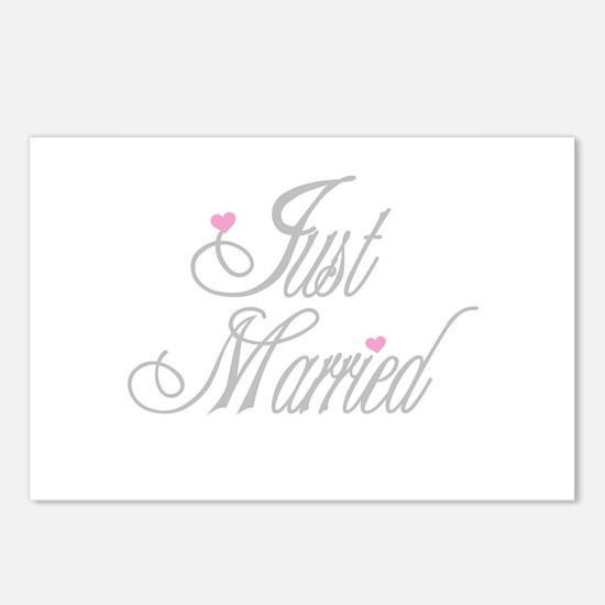 Classy Grays Just Married Postcards (Package of 8)