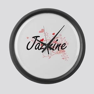 Jazmine Artistic Name Design with Large Wall Clock