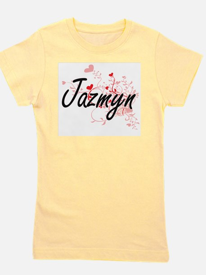 Jazmyn Artistic Name Design with Hearts Girl's Tee
