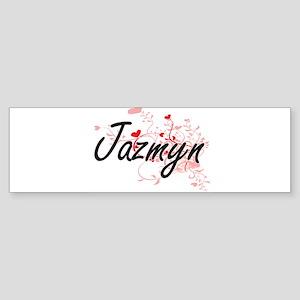 Jazmyn Artistic Name Design with He Bumper Sticker