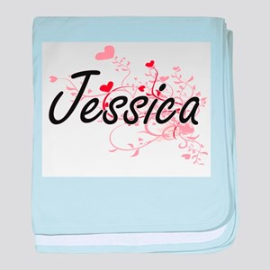 Jessica Artistic Name Design with Hea baby blanket