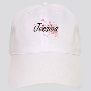 Jessica Artistic Name Design with Hearts Cap