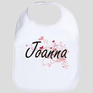 Joanna Artistic Name Design with Hearts Bib