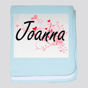 Joanna Artistic Name Design with Hear baby blanket