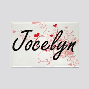 Jocelyn Artistic Name Design with Hearts Magnets