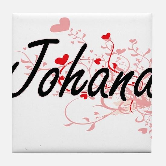 Johana Artistic Name Design with Hear Tile Coaster