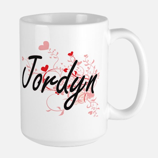 Jordyn Artistic Name Design with Hearts Mugs