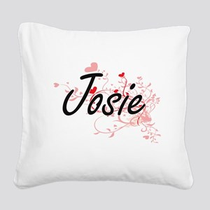 Josie Artistic Name Design wi Square Canvas Pillow