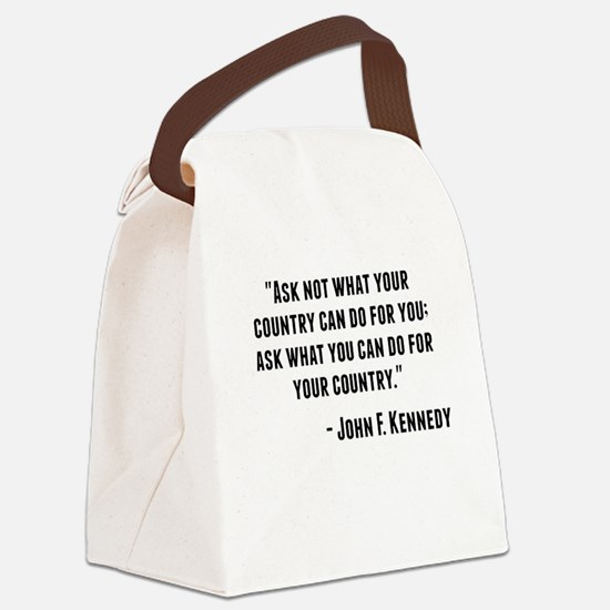 John F. Kennedy Quote Canvas Lunch Bag
