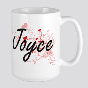 Joyce Artistic Name Design with Hearts Mugs