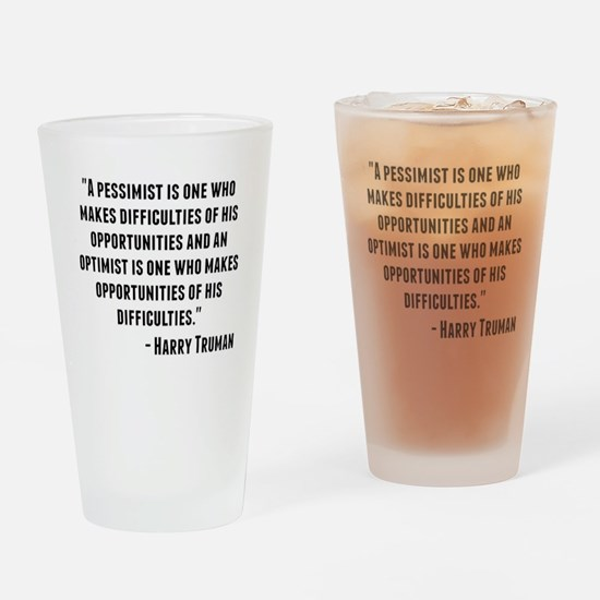Harry Truman Quote Drinking Glass