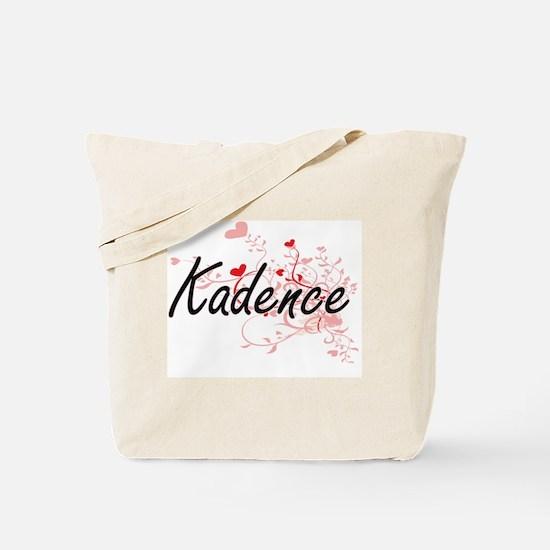 Kadence Artistic Name Design with Hearts Tote Bag