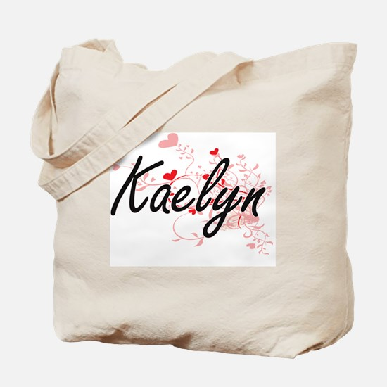 Kaelyn Artistic Name Design with Hearts Tote Bag