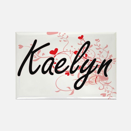 Kaelyn Artistic Name Design with Hearts Magnets