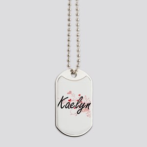 Kaelyn Artistic Name Design with Hearts Dog Tags
